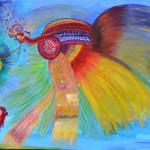 """""""Winged Wanderer encounters Butterfly Bird"""" by Alexandra Marx, Germany"""